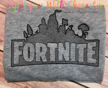 Fortnight Building Sketch Embroidery Design