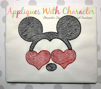Mr. Mouse with Heart Glasses Sketch Embroidery Design
