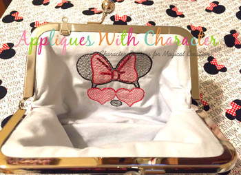Miss Mouse with Heart Glasses Sketch Embroidery Design