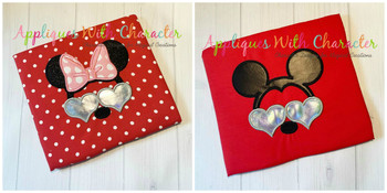 Miss Mouse and Mr Mouse with Heart Glasses Applique Design