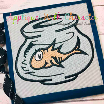 Fish In Bowl Sketch Embroidery Machine Design