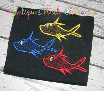Seuss Red Fish Sketch Embrodiery Design