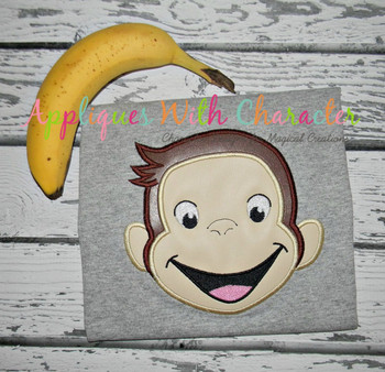 Curious Monkey Full Face Applique Design