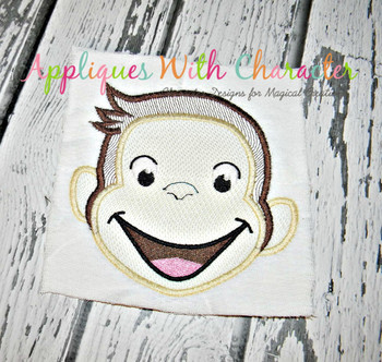 Curious Monkey Full Face Sketch Embrodiery Design