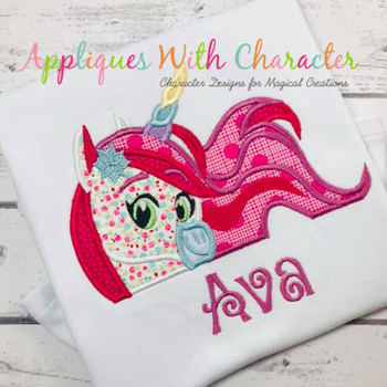Princess Knight Unicorn Peeker Applique Design