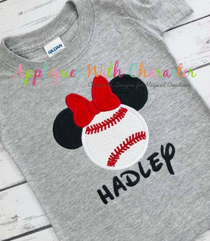 Miss Mouse Baseball Applique Design