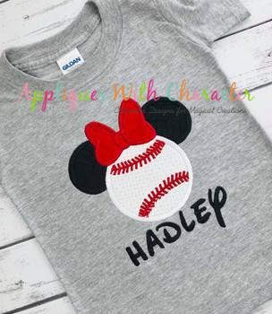 Miss Mouse Baseball Applique Design