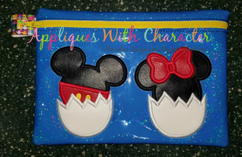 Mr Mouse and Miss Mouse in Easter Eggs Applique Designs