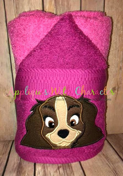 Lady Peeker Dog Applique Design