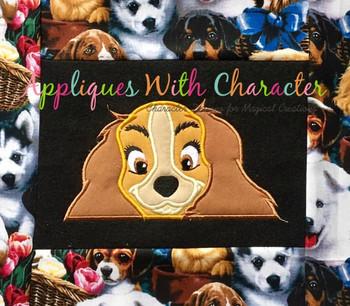 Lady Peeker Dog Applique Design