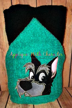 Lady Jock the Scottie Peeker Dog Applique Design
