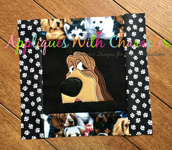 Lady Trusty the Hound Dog Peeker Applique Design