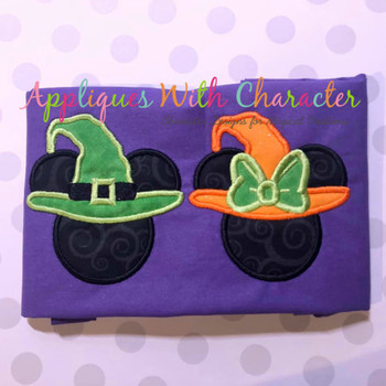 Miss Mouse and Mr Mouse Witch Hat Applique Design