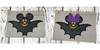 Miss Mouse and Mr Mouse Bat Applique Designs