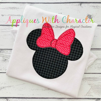 Miss Mouse Head Outline ZZ Applique Design