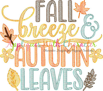 Fall Leaves Autumn Breeze Sketch Embroidery Design