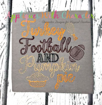 Football, Turkey, Pumpkin Pie Saying Bean Stitch Embroidery Design