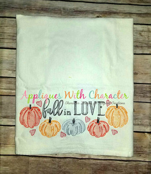 Fall in Love Bean Stitch Embroidery Design