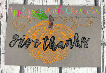 Give Thanks Sketch Embroidery Design