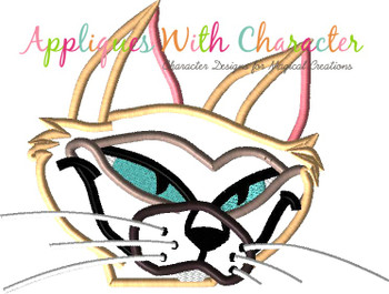 Siamese Cat Peeker Applique Design