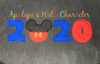 2020 Mr Mouse Head ZZ Applique Design