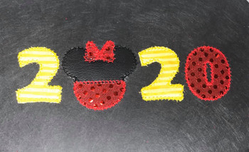 2020 Minnie Mouse Head ZZ Applique Design