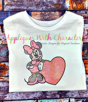 Miss Mouse with Heart Sketch Embroidery Design