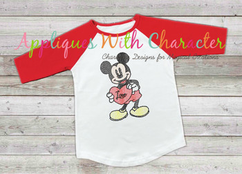Mr. Mouse with Heart Sketch Embroidery Design