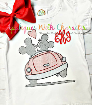 Mr Mouse Miss Mouse in Car Sketch Embroidery Design