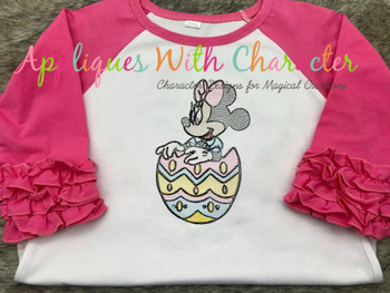 Miss Mouse in Easter Egg Sketch Embroidery Design