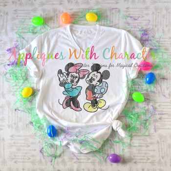 Mr. Mouse & Miss Mouse with Easter Egg Sketch Embroidery Design