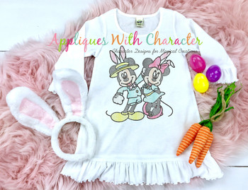 Mr. Mouse & Miss Mouse in Bunny Hats Sketch Embroidery Design