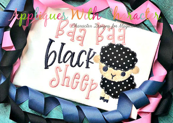 Baa Baa Black Sheep Nursery Rhyme ZZ Stitch Embroidery Design