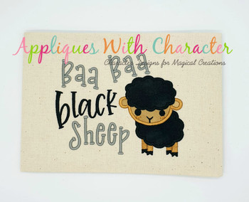 Baa Baa Black Sheep Nursery Rhyme Applique Embroidery Design