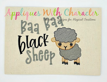 Baa Baa Black Sheep Nursery Rhyme Sketch Embroidery Design