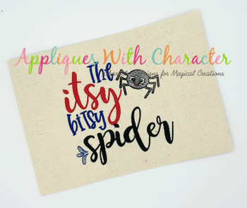 Itsy Bitsy Spider Nursery Rhyme Sketch Embroidery Design