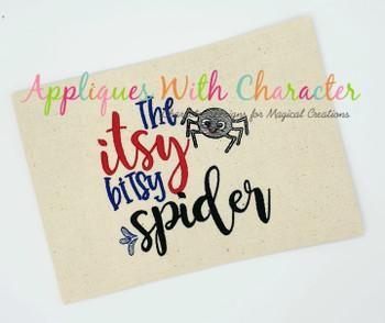 Itsy Bitsy Spider Nursery Rhyme Sketch Embroidery Design