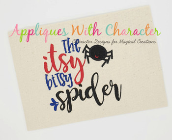 Itsy Bitsy Spider Nursery Rhyme Applique Embroidery Design