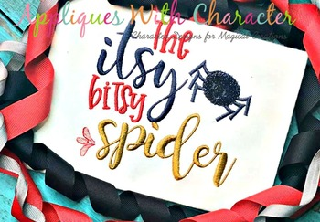 Itsy Bitsy Spider Nursery Rhyme ZZ Outline Stitch Applique Design