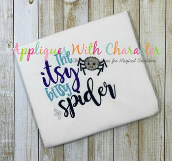 Itsy Bitsy Spider Nursery Rhyme ZZ Outline Stitch Applique Design