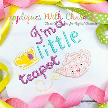 I'm a Little Teapot Nursery Rhyme Applique Design