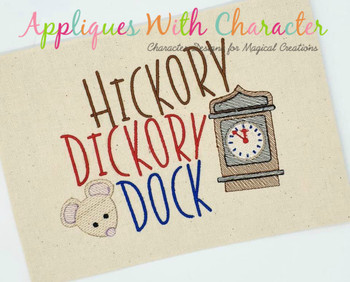 Hickory Dickory Dock Nursery Rhyme Sketch Design