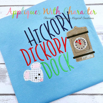 Hickory Dickory Dock Nursery Rhyme ZZ Outline Applique Design