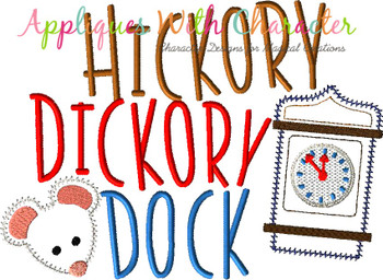 Hickory Dickory Dock Nursery Rhyme ZZ Outline Applique Design