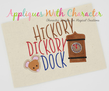 Hickory Dickory Dock Nursery Rhyme Satin Stitch Applique Design