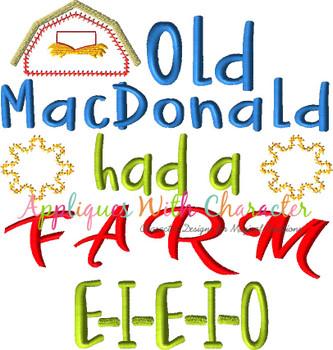 Old McDonald Had a Farm Nursery Rhyme ZZ Outline Stitch Applique Design