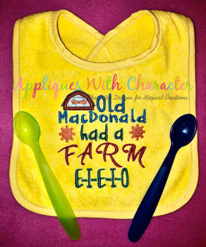 Old McDonald Had a Farm Nursery Rhyme Satin Stitch Applique Design