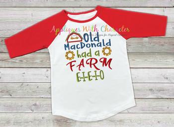 Old McDonald Had a Farm Nursery Rhyme Satin Stitch Applique Design
