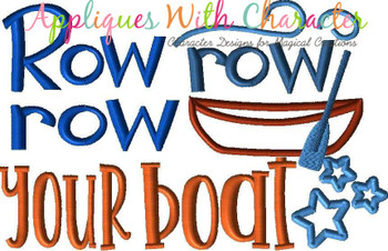 Row Row Row Your Boat Nursery Rhyme Satin Stitch Applique Design