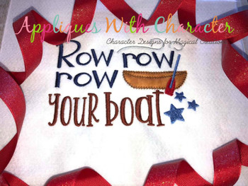 Row Row Row Your Boat Nursery Rhyme ZZ Stitch Embroidery Design
